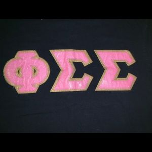 Tops - Phi Sigma Sigma hard letters shirt